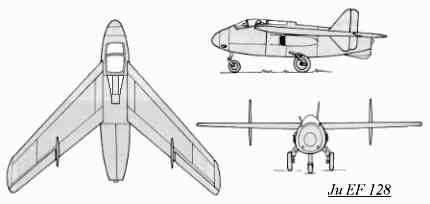 PROYECTOS INCONCLUSOS DE LA AERONÁUTICA ALEMANA DE LA S.G.M. Junkers_ju_ef_128_dibujo