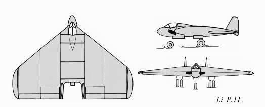 PROYECTOS INCONCLUSOS DE LA AERONÁUTICA ALEMANA DE LA S.G.M. - Página 2 Lippisch_li_p11_dibujo