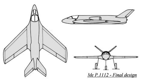 PROYECTOS INCONCLUSOS DE LA AERONÁUTICA ALEMANA DE LA S.G.M. Messerschmitt_me_P_1112_dibujo