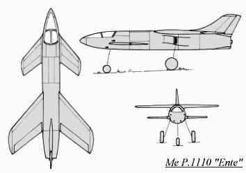 PROYECTOS INCONCLUSOS DE LA AERONÁUTICA ALEMANA DE LA S.G.M. - Página 2 Messerschmitt_me_p_1110_ente_dibujo