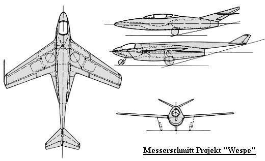 PROYECTOS INCONCLUSOS DE LA AERONÁUTICA ALEMANA DE LA S.G.M. - Página 2 Messerschmitt_me_wespe_dibujo