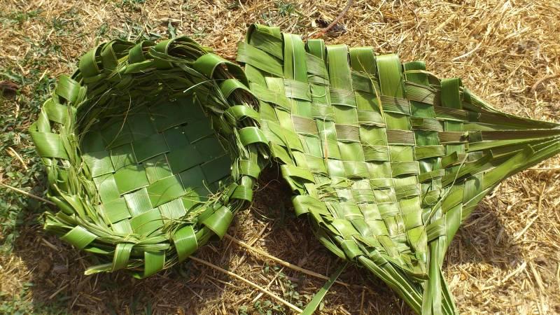 Cestos y plato con hojas de plamera DSC_0905