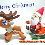 Papercraft, Origami, Kirigami, Quilling, Pop-Up Card, Pattern, Kit ... Santa_Claus-1