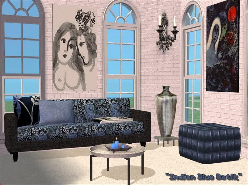 Indian Blue Batik Living Room @ Basic...for Sims IndianBlueBatik