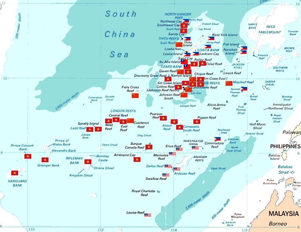 Tấm bản đồ bất chính của Trung Quốc Spratly_with_flags