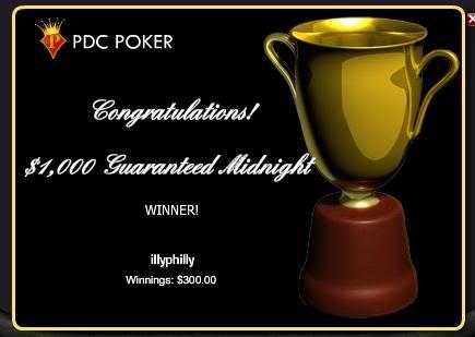 won the $1,000 guaranteed Aprpdcwin