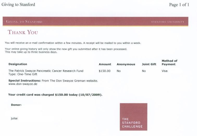P. Swayze Pancreas Cancer Research Fund Donation