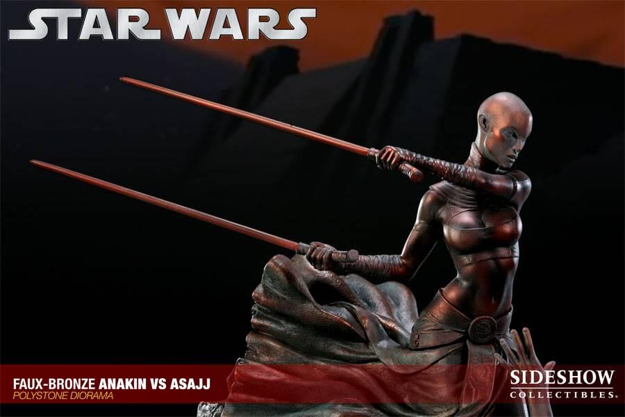 Sideshow - Anakin VS Asajj Diorama - Faux Bronze AnakinVSAsajjDiorama04
