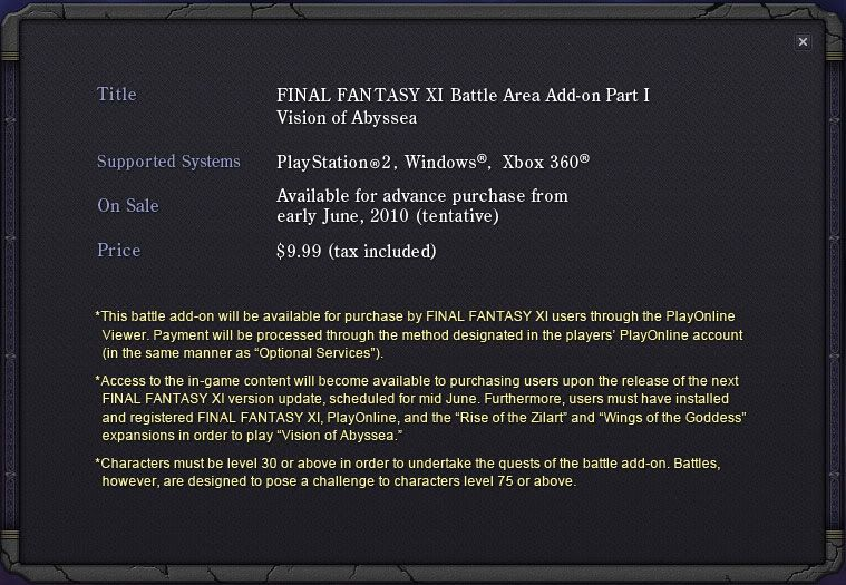 Vision of Abyssea website now live! FFXI-Abyssea-Info