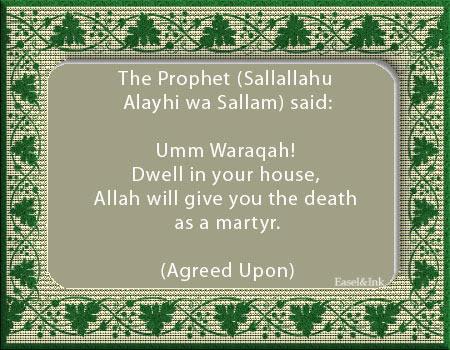 Umm Waraqah bint 'Abdullah bin Harith Ansariah (Radhi Allahu Anha)  Ummwaraqah