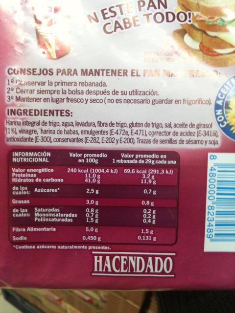 Pan integral de molde con avena hacendado? F238632a