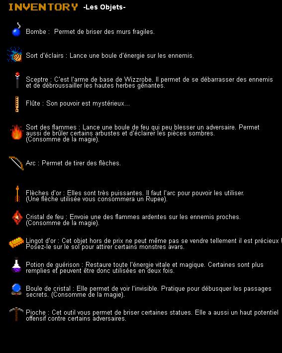 Legend of Zelda -Mini Quest 3- Listeobjetsminiquest3