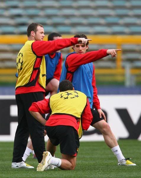 Entrenamiento del Manchester United 31/3/2008...Roma,Italia 3-9