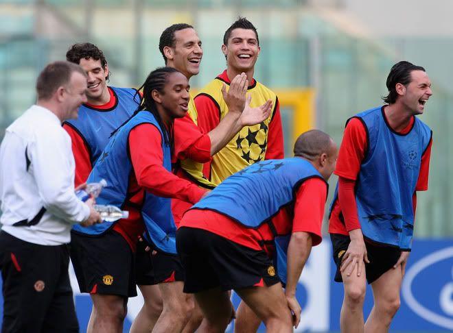 Entrenamiento del Manchester United 31/3/2008...Roma,Italia 4-7