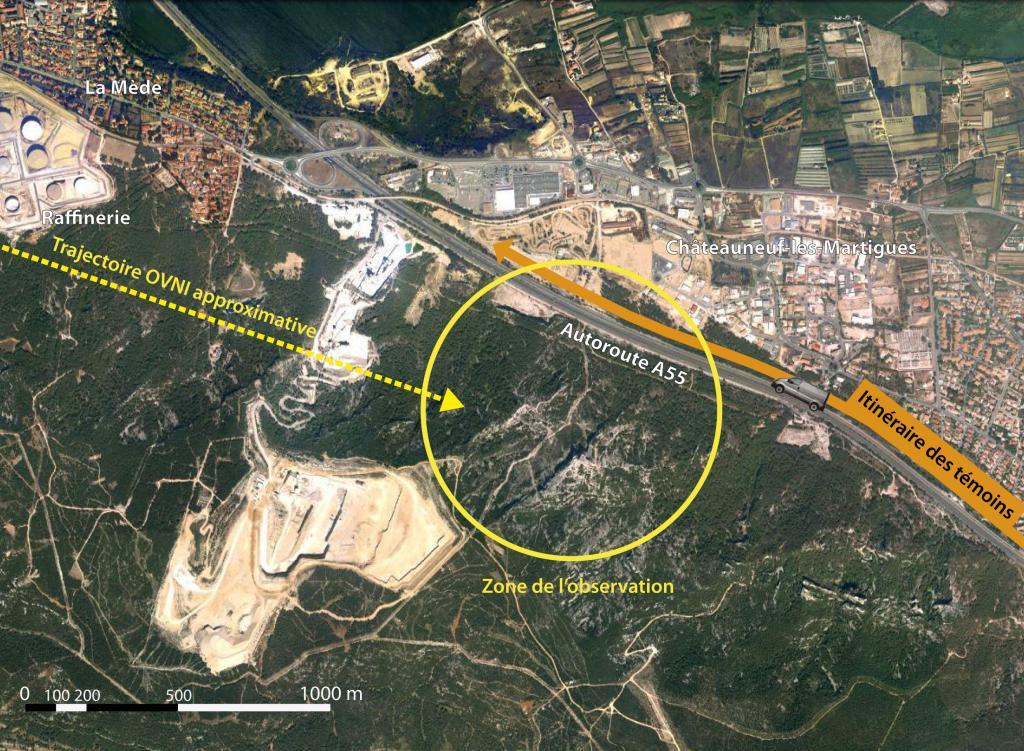 Observation Ovni août 2014: Le 06/08 vers 12h00 – Losange gris clair – La Mède – Bouches-du-Rhône (dép.13) OVNIlamedelocalisation-01