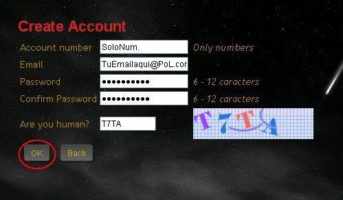 Crear una account Account2