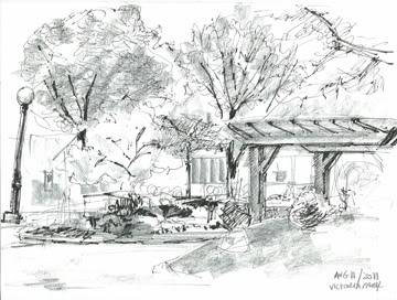 Plein air pen and pencil sketches Aug11VictParksm