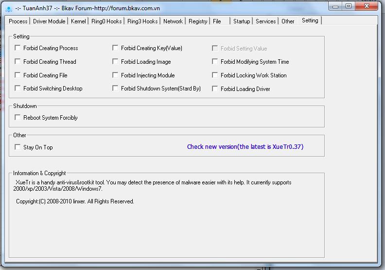 """Công cụ hỗ trợ diệt Virus """"bằng tay"""" siêu mạnh-XueTr [Anti-Virus & Rootkit] 004"""