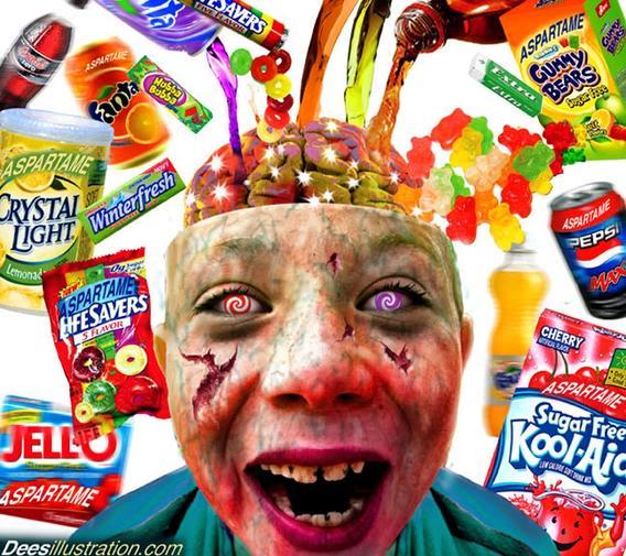 DEPOPULATION VIA LES OGM, LES PESTICIDES, LA DEFORESTATION ET LA POLLUTION DE NOTRE NOURRITURE ET DE NOS EAUX Aspartame_zombie