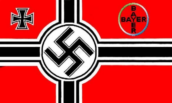 DEPOPULATION VIA LES OGM, LES PESTICIDES, LA DEFORESTATION ET LA POLLUTION DE NOTRE NOURRITURE ET DE NOS EAUX NAZI_FLAG_BAYER2