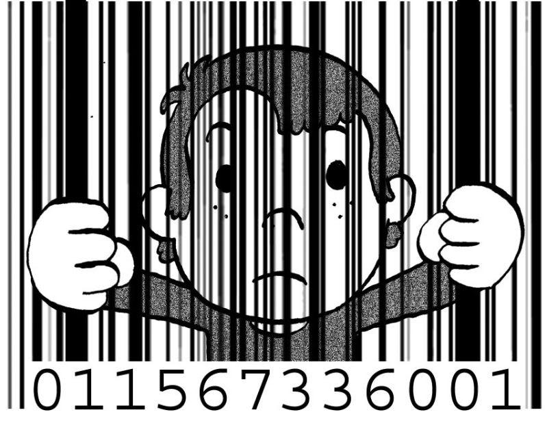 2011 : PISTAGE DES CITOYENS : SATELLITES, CAMERAS, SCANNERS, BASES DE DONNEES, IDENTITE & BIOMETRIE Enfant-code-barre-prison2
