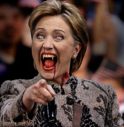"""DEPOPULATION ET/OU CONTRÔLE DES POPULATIONS PAR L'EUGENISME ET PAR L'OBSESSION DE LA """"RACE PURE"""" Hillary-Clinton-Vampire"""
