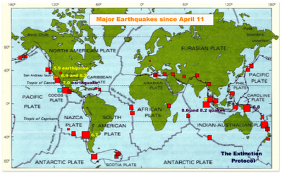 ERUPTIONS, TREMBLEMENTS DE TERRE ET TSUNAMIS MajoreathquakessinceApril11
