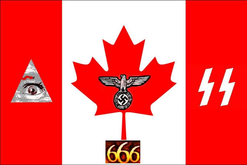 2012 : PUCES IMPLANTABLES, RFID, NANOTECHNOLOGIES, NEUROSCIENCES, N.B.I.C., TRANSHUMANISME  ET CYBERNETIQUE ! - Page 2 Nazicanadianflag666_NWO