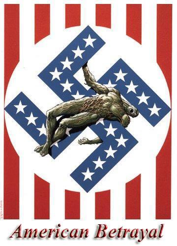 2011 : PISTAGE DES CITOYENS : SATELLITES, CAMERAS, SCANNERS, BASES DE DONNEES, IDENTITE & BIOMETRIE Nazi_american_flag-1
