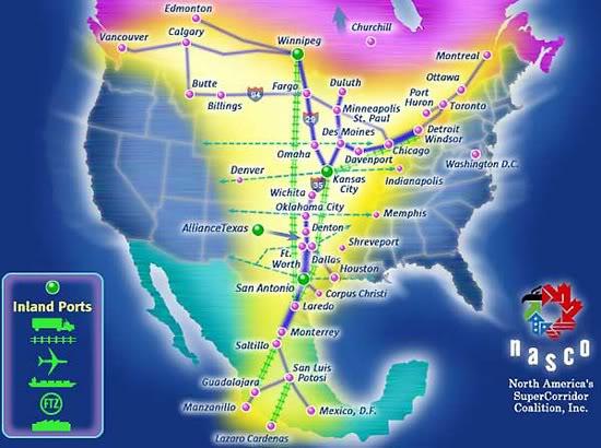 2011 : PISTAGE DES CITOYENS : SATELLITES, CAMERAS, SCANNERS, BASES DE DONNEES, IDENTITE & BIOMETRIE North-amercan-union-super-corridor-map