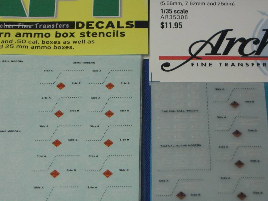 AFT Decals 1/35th scale NATO and Modern Ammo Box Stencils 7710b