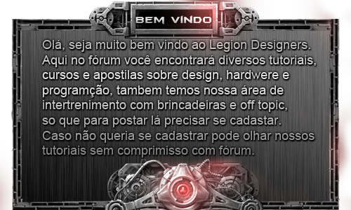 Tutoriais Legion Designers Pop-bemvindo