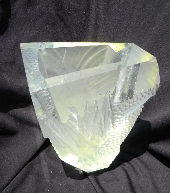 """ID HELP Massive Abstract 3"""" thick Cut Carved & Frosted Art Glass Vase 20lbs HugeCryArtVase0017"""