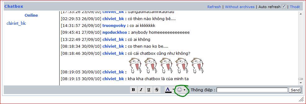 Sử dụng chatbox! Chatbox2