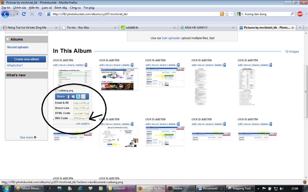 Cách sử dụng trang http://photobucket.com để up anh  Laylink