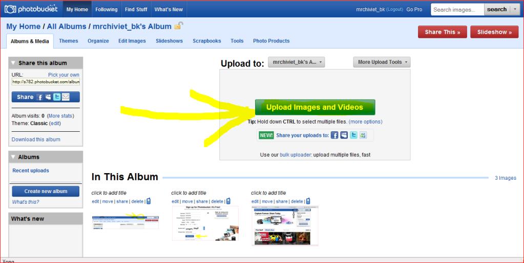 Cách sử dụng trang http://photobucket.com để up anh  Up
