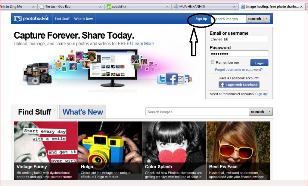 Cách sử dụng trang http://photobucket.com để up anh  Vao