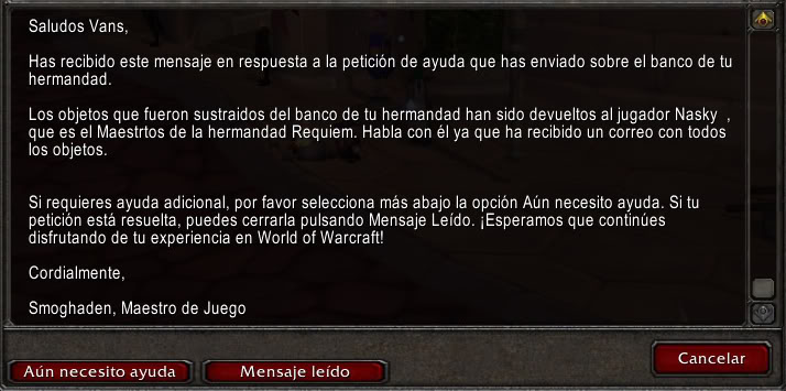 Robo de cuenta Warcraft