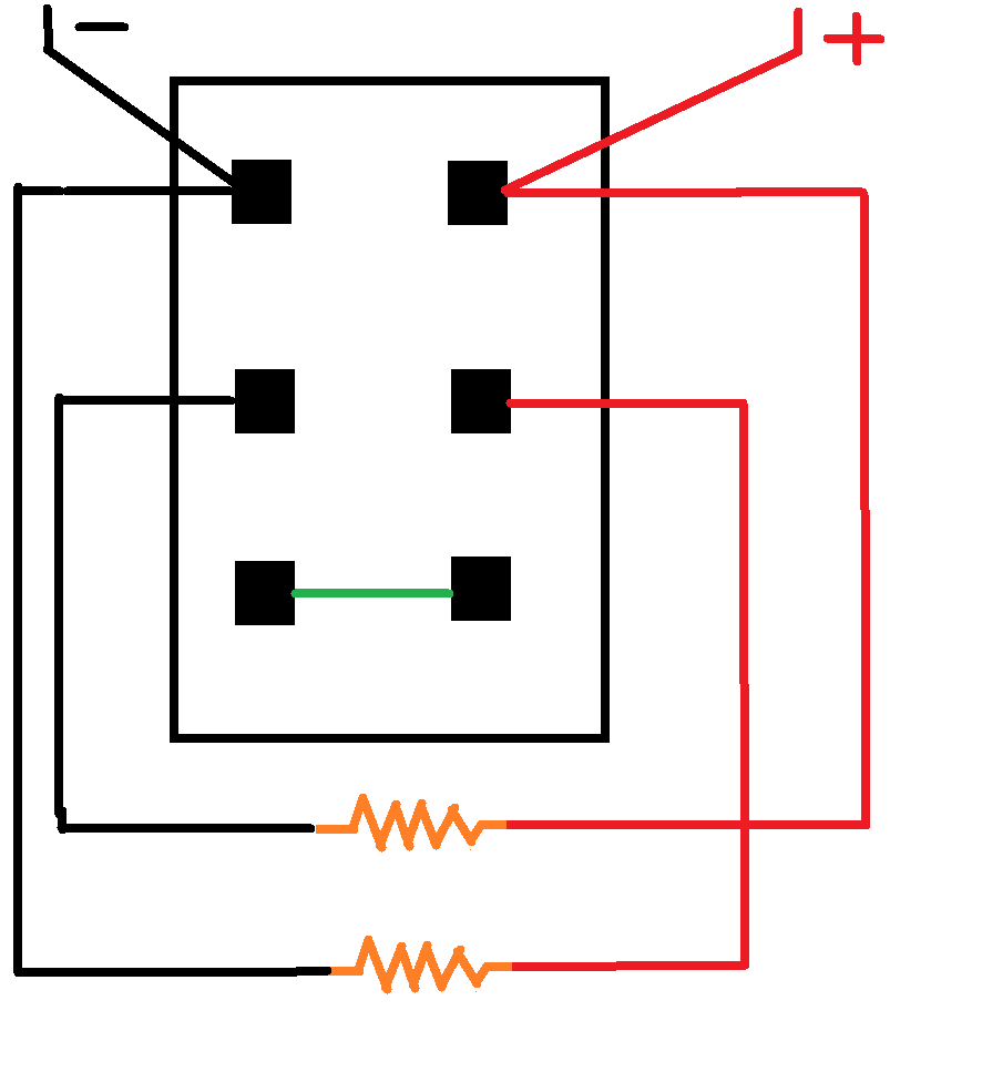 The diagram above shows the bottom of the switch - the wires marked plus  and minus go off to a switched supply (don't want to leave them on  accidently!)