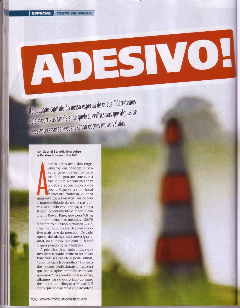 pneus - COMPARATIVO DE PNEUS - REVISTA MOTOCICLISMO SET/2010 P1