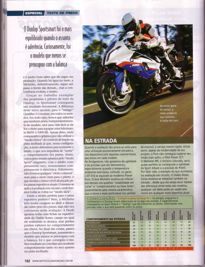 pneus - COMPARATIVO DE PNEUS - REVISTA MOTOCICLISMO SET/2010 P5