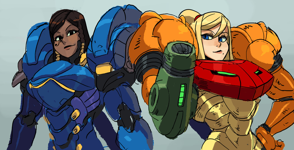 Spam With Pics 2.0 - Page 6 Samus_and_pharah_by_oh8-d8ii4lr