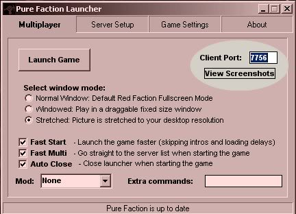 How to set up a dedicated server for red faction Port