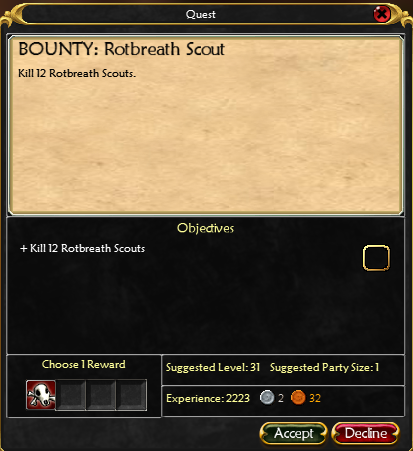 Great Forest Bounty Boards HWBBRotbreathScoutQuest