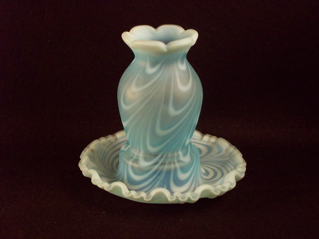 Fenton Blue feather swirl fairy lamps Glass073