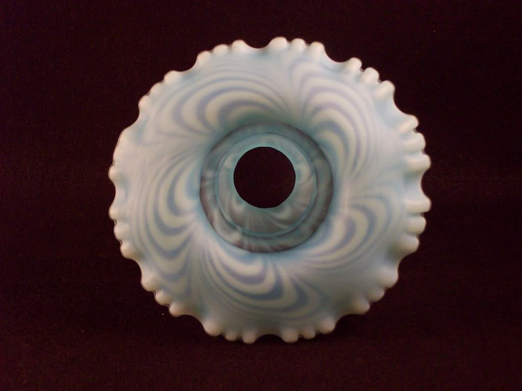Fenton Blue feather swirl fairy lamps Glass074