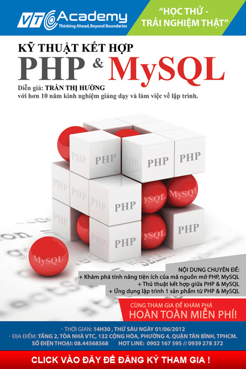 """HỌC THỬ TRẢI NGHIỆM THẬT! """"Kỹ thuật kết hợp PHP với MySQL"""" - FREE!  Sql_php_Academy"""
