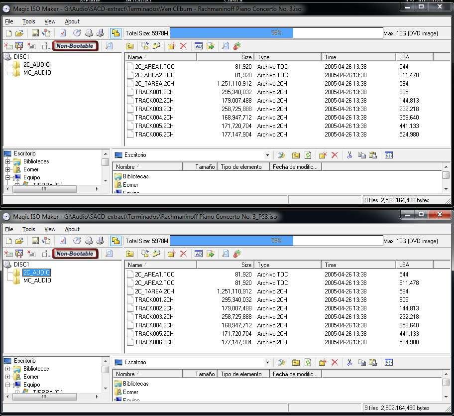 Latencia DSf vs latencia SACD 2ch