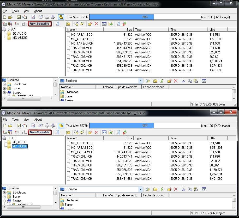 Latencia DSf vs latencia SACD Mch