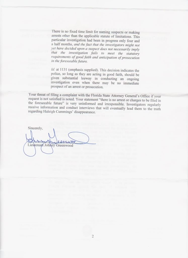 Must Read Letter from PCSO re: the Haleigh Cummings investigation and the Sunshine Law Putnam2